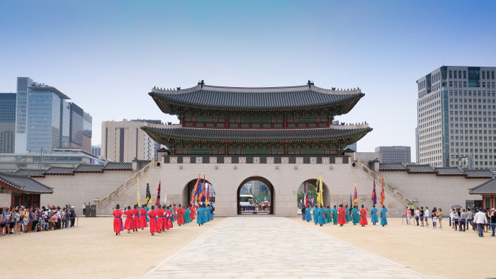 Gyeongbokgung Palace. This is a view towards the main gate during the changing of the guards.
