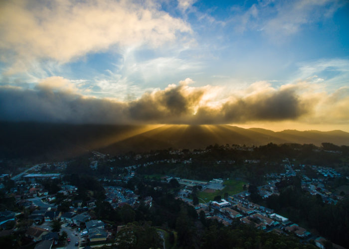 Light rays above Montara Mountain